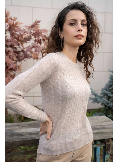 Silk and Cashmere Kaşmir Ve Yün Yuvarlak Yaka Uzun Kollu Saç Örgülü Amelia Kazak Bej